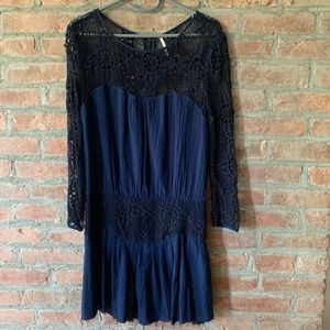 Free People Navy Dress with drop waist